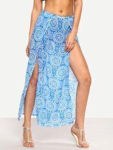 Tribal Circle Print High-Slit Skirt - Blue