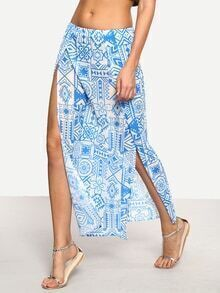 Tribal Print High-Slit Skirt - Blue