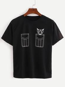 Black Cat Print False Pocket T-Shirt