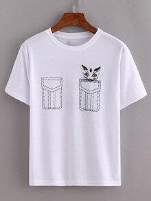 White Cat Print False Pocket T-Shirt