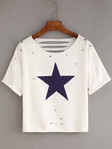 Ripped Star Print White T-shirt