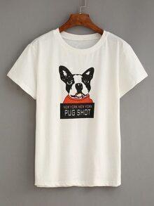 Dog Print White T-shirt