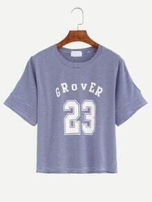 Cutout Shoulder Varsity Print Blue Striped T-shirt