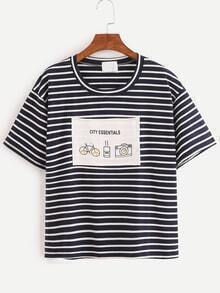 Graphic Print Navy Striped T-shirt