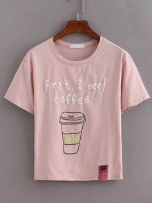 Coffee Print Pink T-shirt