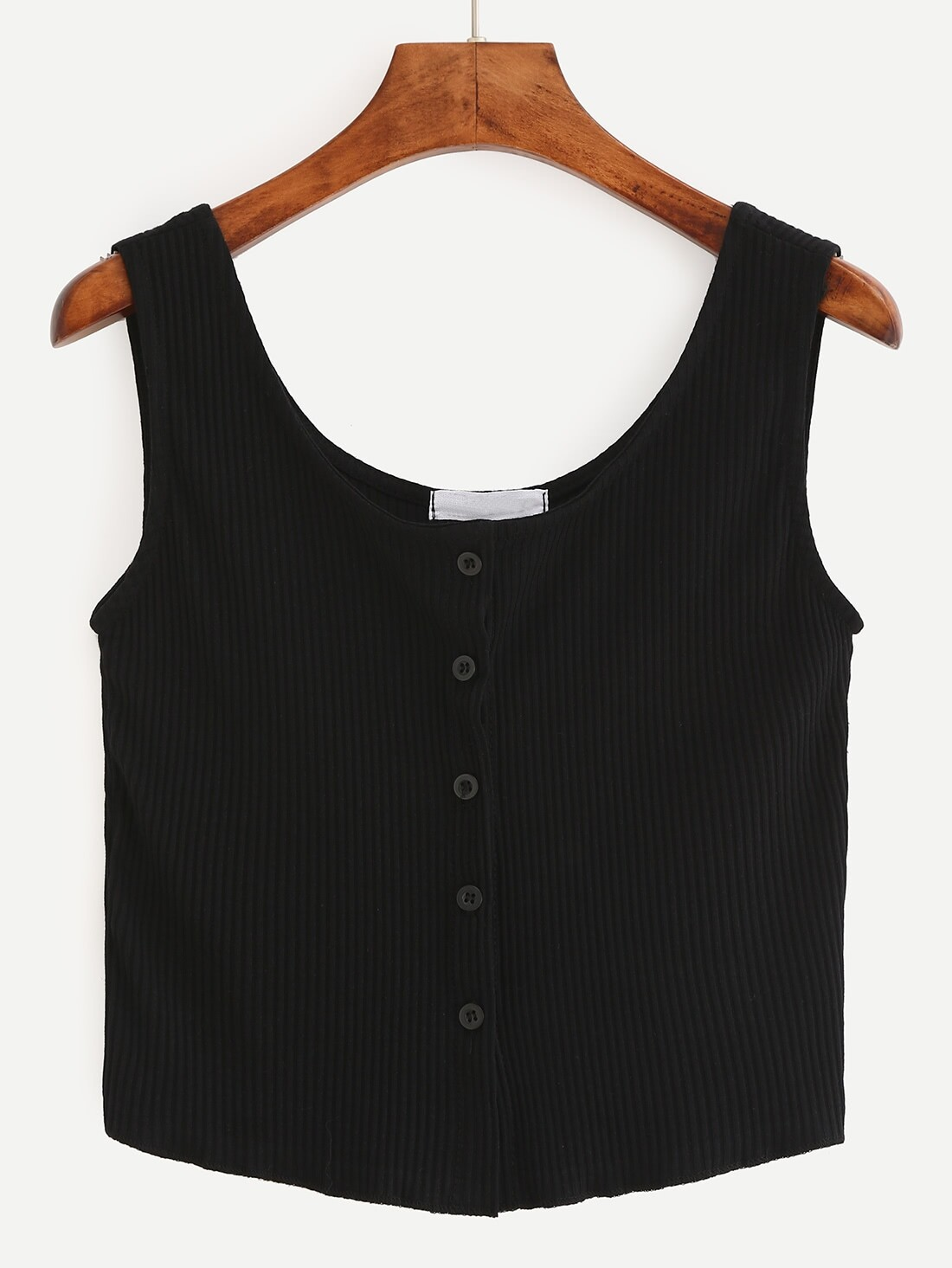 Buttoned Front Ribbed Knit Crop Tank Top - Black vest160524075