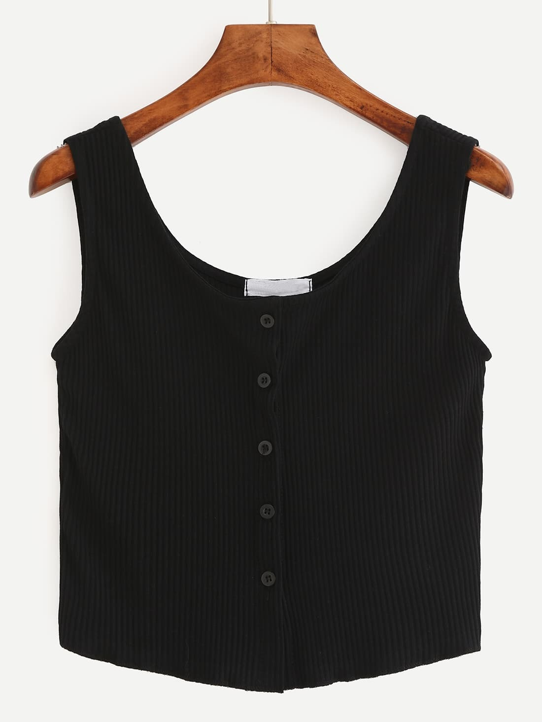 Buttoned Front Ribbed Knit Crop Tank Top - Black