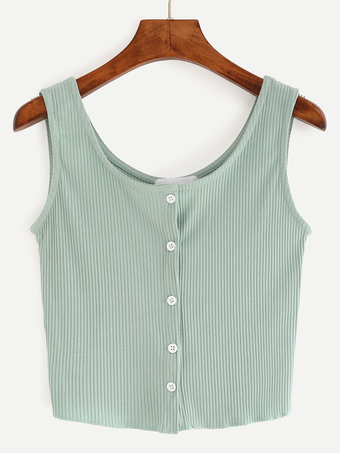 Buttoned Front Ribbed Knit Crop Tank Top - Green vest160524076
