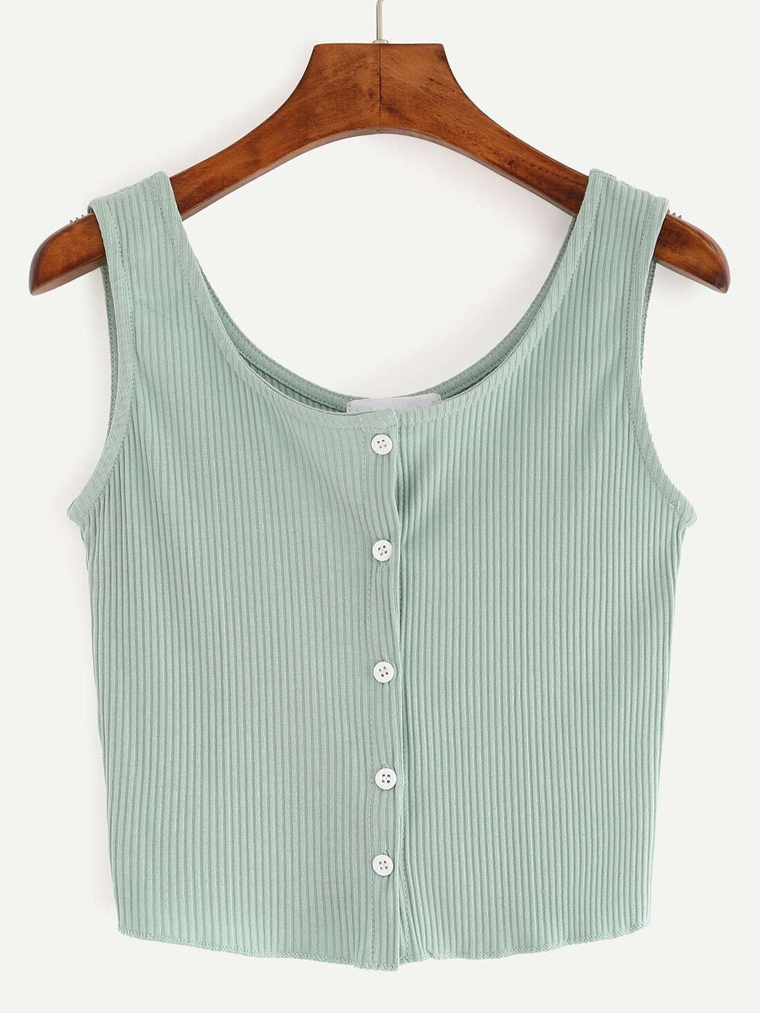 Buttoned Front Ribbed Knit Crop Tank Top - Green