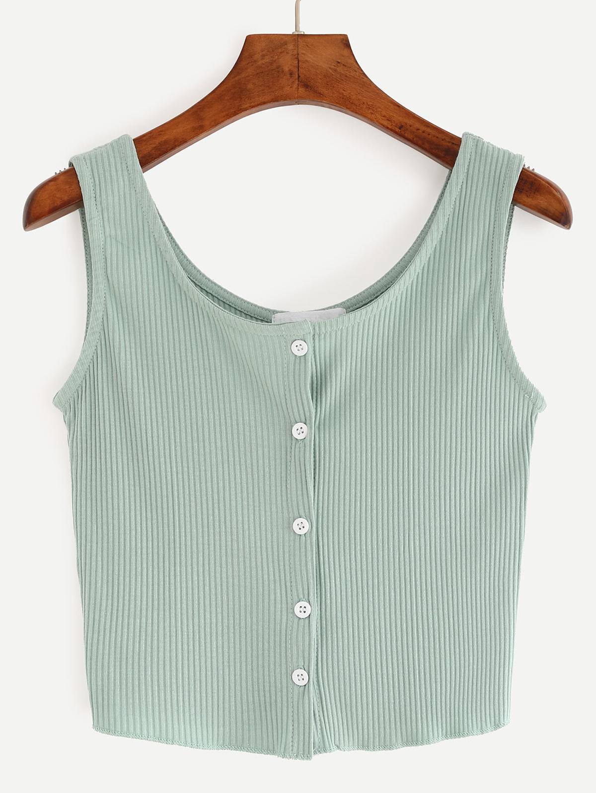 紐扣 正面 細長條 針織 短版 無袖背心 - 綠色