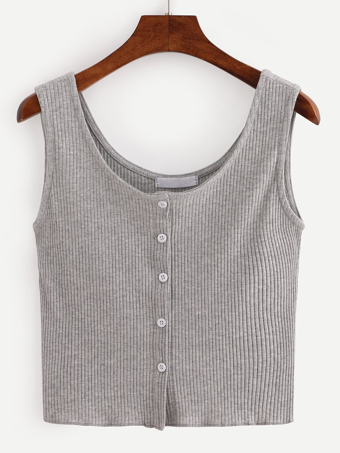 Buttoned Front Ribbed Knit Crop Tank Top - Grey
