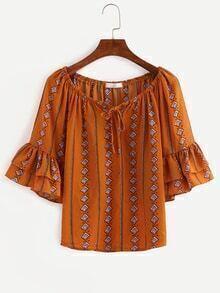Tie-Neck Ruffled Sleeve Tribal Print Blouse - Brown