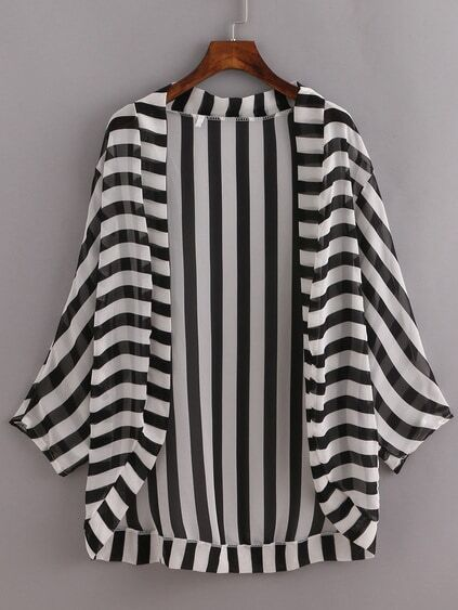 Black White Striped Open-Front Blouse