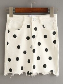 White Polka Dot Fringe Denim Skirt