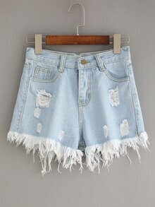 Light Blue Ripped Fringe Denim Shorts