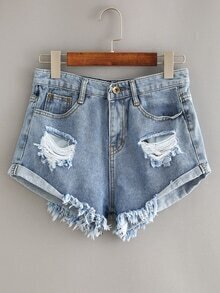 Ripped Rolled Hem Blue Denim Shorts