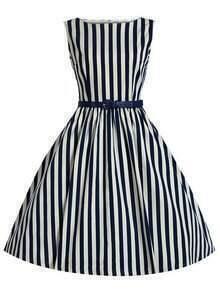 Blue Vertical Striped Flare Dress With Belt