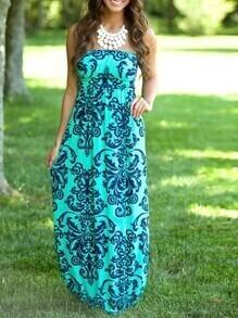Green Strapless Print Dress