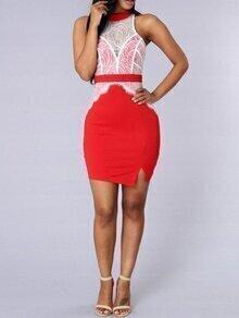 Red Contrast Lace Split Bodycon Dress