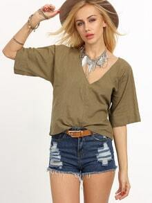 Army Green V Neck Elbow Sleeve Shirt