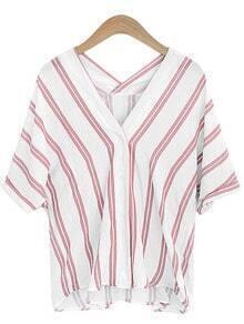 Pink V Neck Vertical Striped Shirt