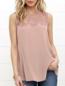 Pink Lace Insert Chiffon Tank Top