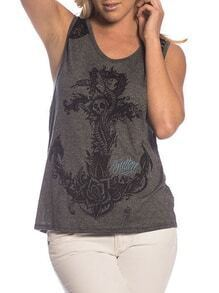 Grey Contrast Lace Anchors Skull Print Tank Top