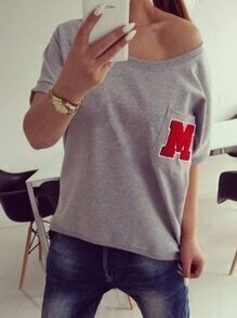 Grey Pocket Letter Patch T-shirt