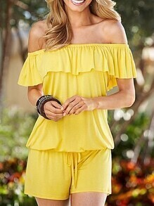 Yellow Off The Shoulder Ruffle Drawstring Romper