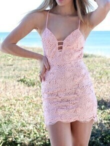 Strappy V-Neck Lace Cami Dress - Pink
