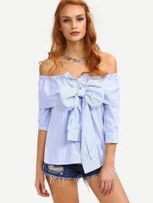 Off-The-Shoulder Faux Sleeve-Tie Striped Top - Blue