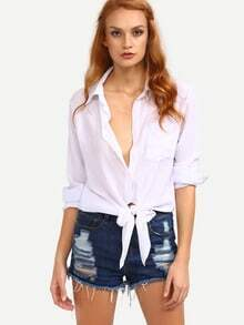 Knot-Front Long Sleeve Shirt - White