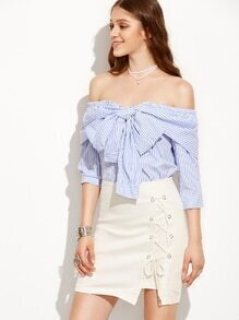 Eyelet Lace-Up Skirt - White