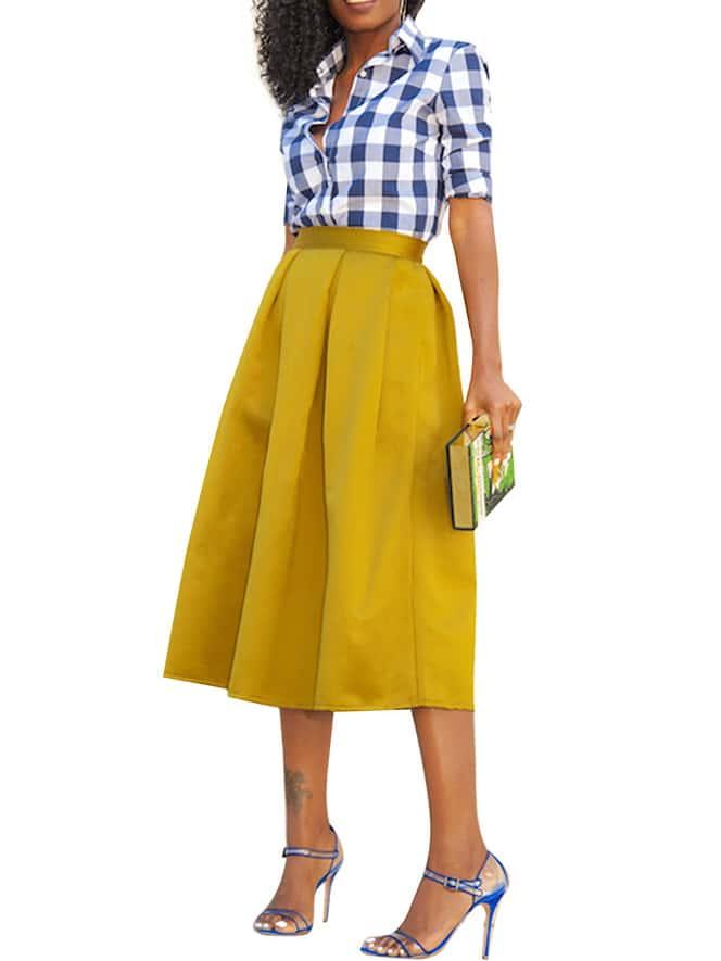 box pleated midi skirt yellow