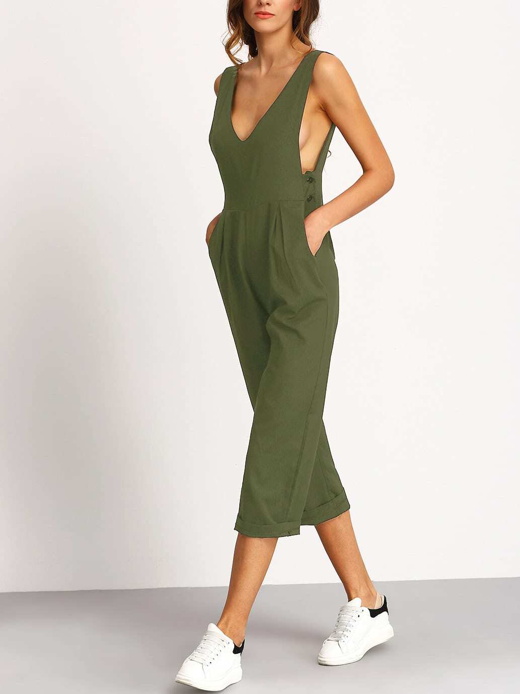 Green Deep V Neck Jumpsuit