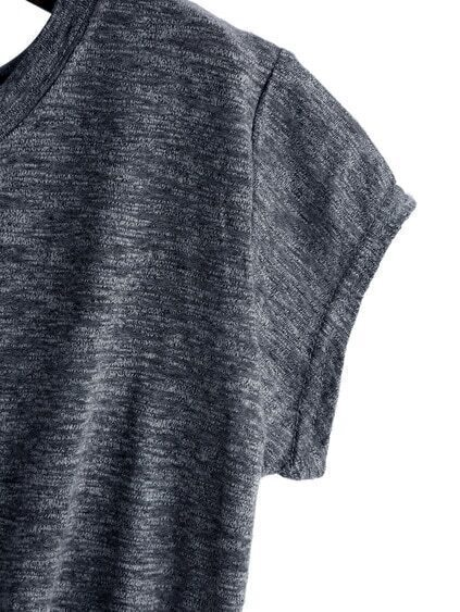 Dark Grey Knotted Crop T-Shirt