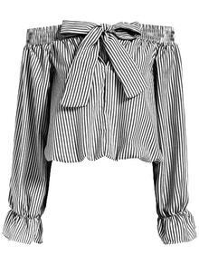 Boat Neck With Bow Vertical Striped Top