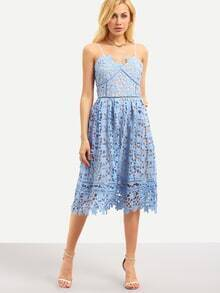Hollow Out Fit & Flare Lace Cami Dress - Blue