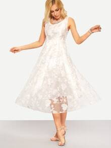 Flower Lace Overlay Fit & Flare Dress - White