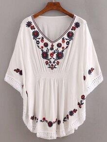 White V Neck Embroidered Fringe Dolman Shirt