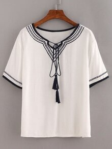 White Lace Up Embroidered Shirt