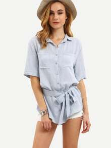 Pale Blue Elbow Sleeve Self-tie Blouse