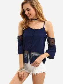 Blue Cold Shoulder Lace Insert Blouse