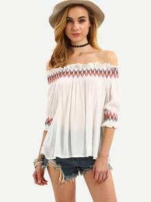White Off The Shoulder Embroidered Shirt