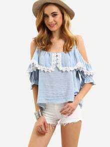 Cold Shoulder Contrast Lace Shirt