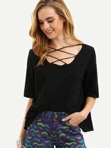 Black Lattice Front Loose T-shirt