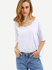 White Lattice Front Loose T-shirt