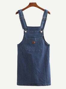 Straps Vertical Striped Denim Dress With Pockets