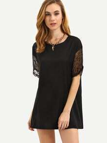 Black Organza Trim Shift Dress