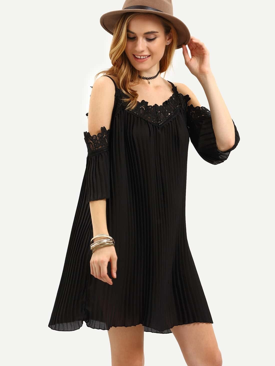 robe plissee epaule denudee noir french romwe With robe noir epaule dénudée